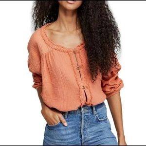Free People Moving Mountains Button Front Top XS